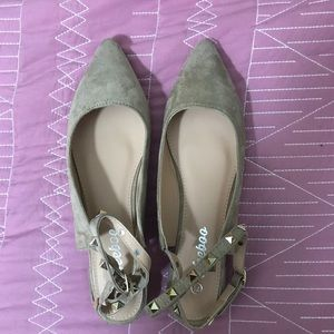 Shoes - Studded wrap around taupe pointed toe flats